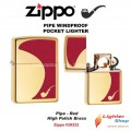 Pipe Lighter Red High Polish Brass